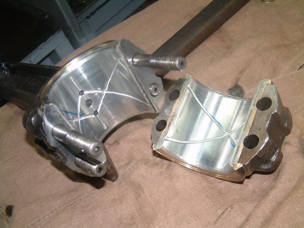 bewerking van een opnieuw ingegoten brons - drijfstanglager 110mm as